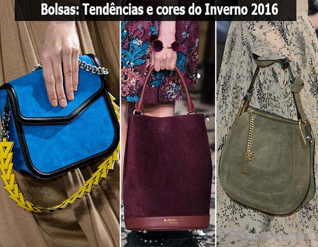 Foto dividida em três partes. A primeira mostrando bolsa carteira azul, a segunra uma bolsa sacola vinho e a terceira uma bolsa de duas alças verde exército.