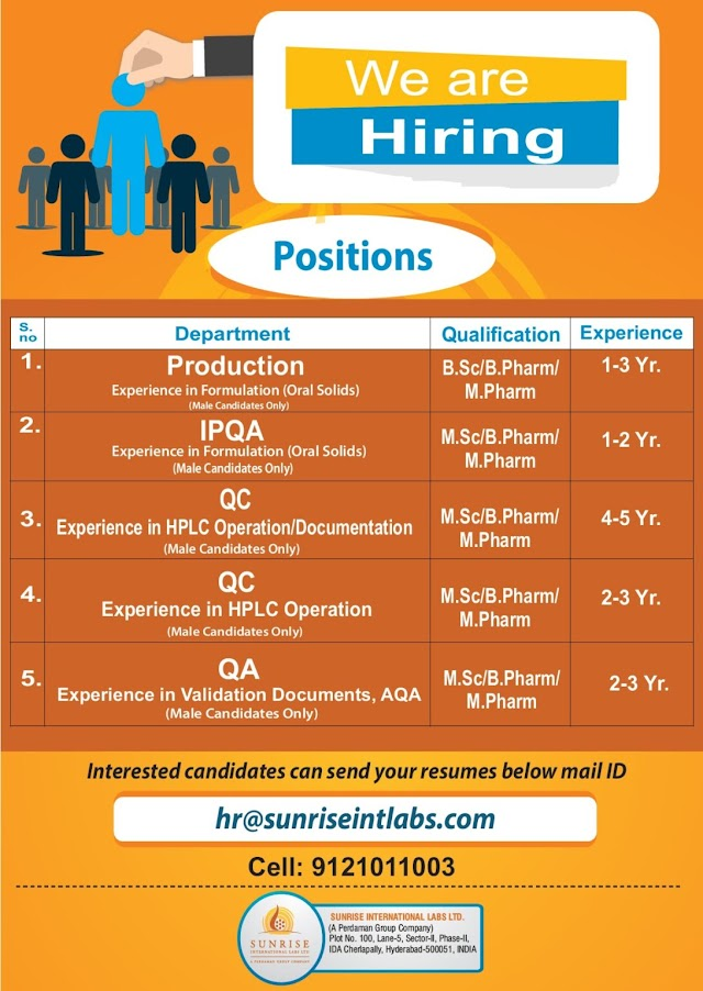 Sun Rise Labs | Multiple Openings in Production/QC/QA at Hyderabad | Send CV
