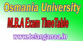 Osmania University M.B.A Exam TimeTable Download