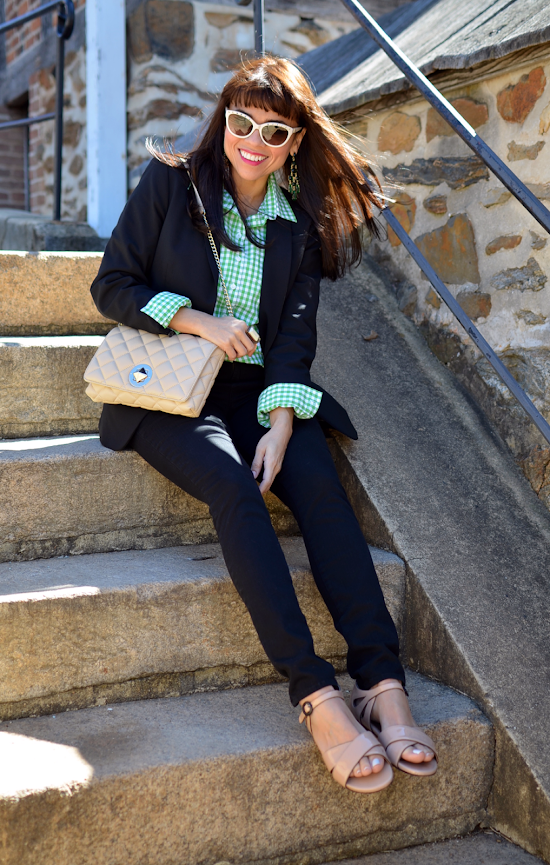 Outfit with green gingham shirt