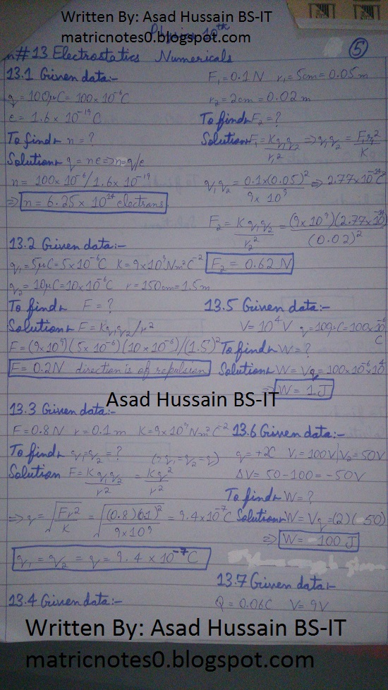 Matric 10th Physics Notes Chapter 13 Numerical Asad Hussain 1