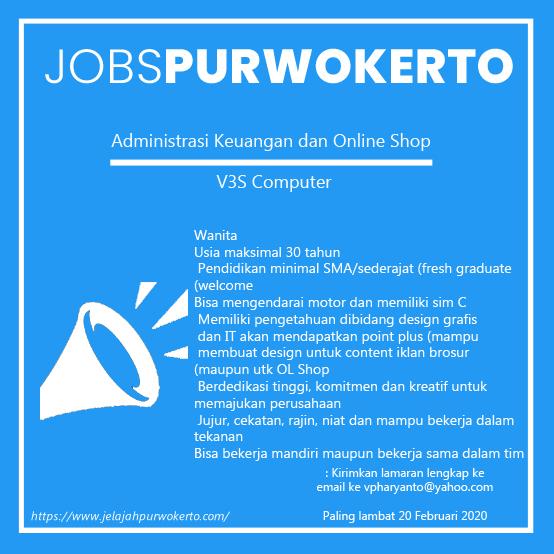 Info Lowongan Pekerjaan Di Purwokerto V3S Computer