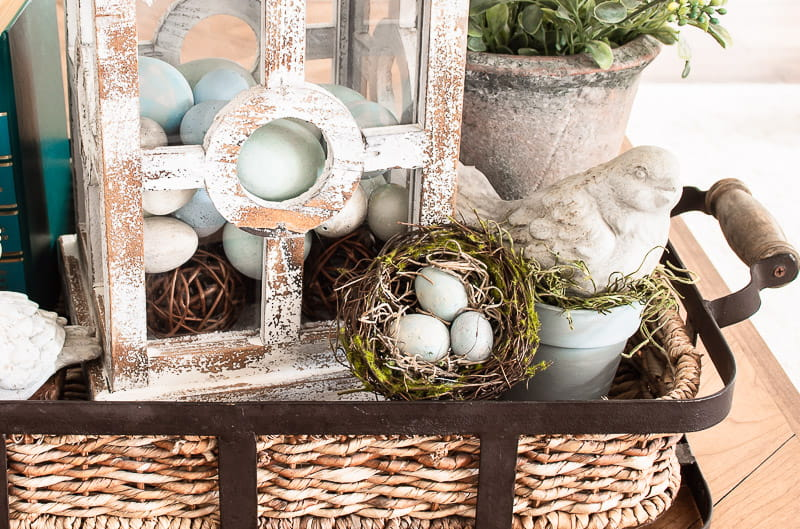 chalk painted robins eggs