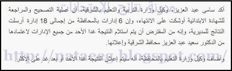 الشرقيه : نتيجة الشهادة الابتدائيه للصف السادس 2014 الترم الاول ظهرت الان