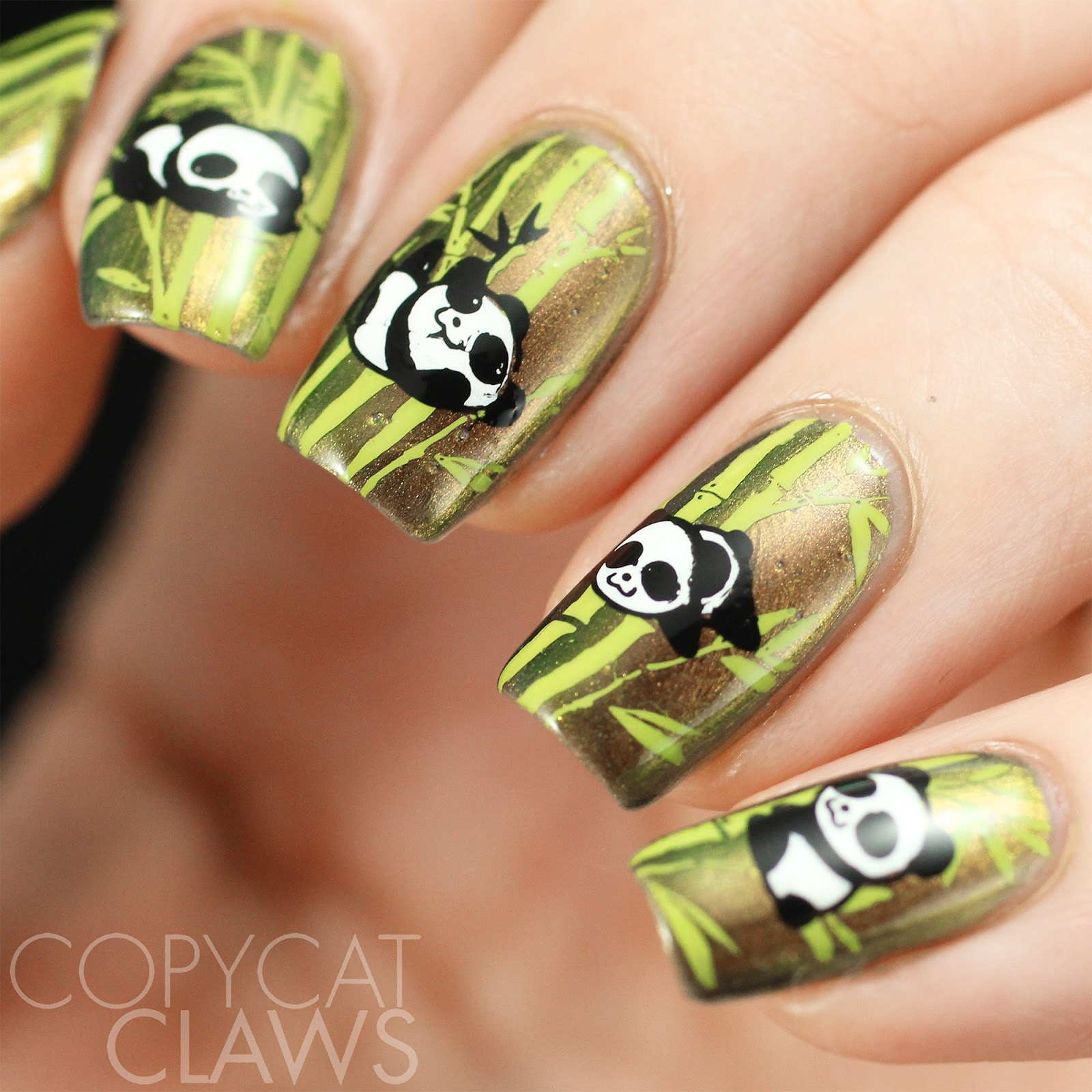 Copycat claws the digit al dozen does rainforest panda nails panda nail stamping prinsesfo Image collections