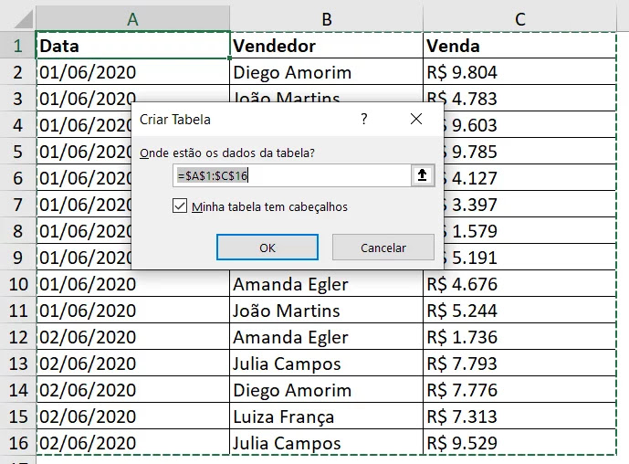 4 - Formatar como tabela CTRL + ALT + T