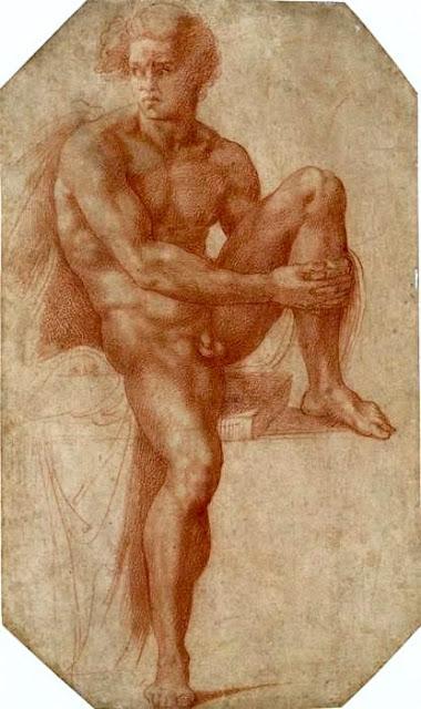 Baccio Bandinelli (1493-1560) ,  Renaissance italienne, Etude d'homme nu assis, c.1540