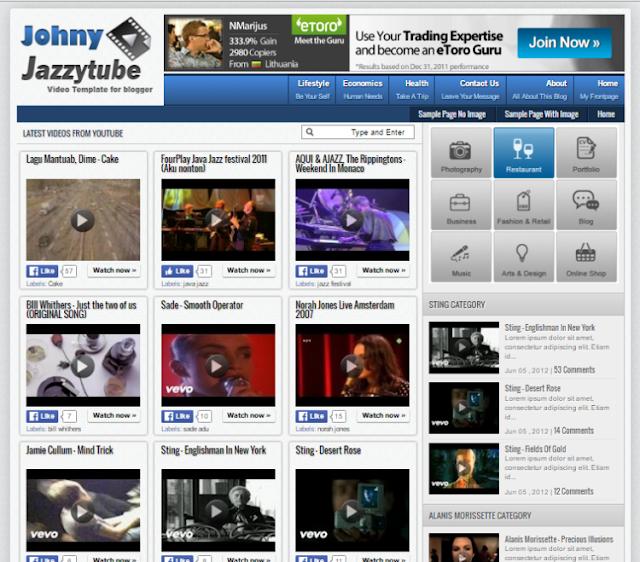 Johny Jazzytube Video Blogger Template