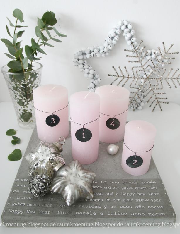 raumkr nung adventskranz alternative betonfliese mit rosa und silber. Black Bedroom Furniture Sets. Home Design Ideas