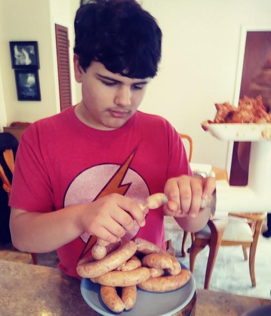 Bobby making sausage