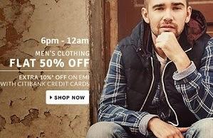 Flat 50% Off on Men's Top Brand Clothing@ Flipkart (Limited Period Offer)