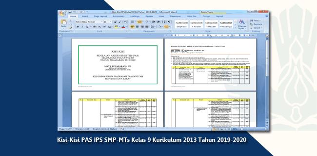 Kisi-Kisi PAS IPS SMP-MTs Kelas 9 Kurikulum 2013 Tahun 2019-2020