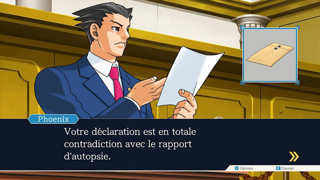 Phoenix Wright Ace Attorney Nintendo Switch French language autopsy report contradiction