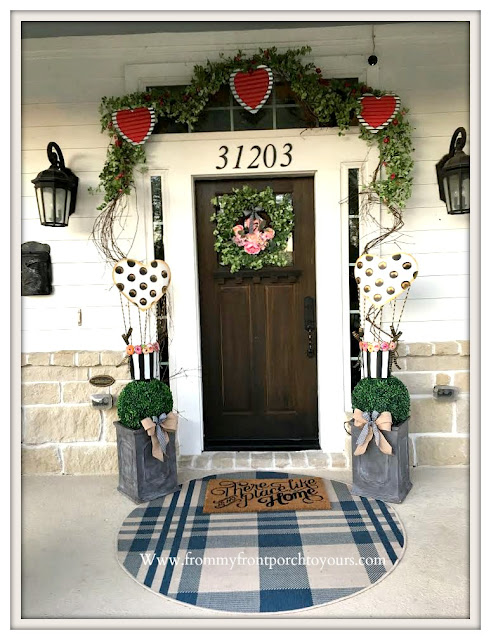 Valentines Day Front Porch-Valentines Decor-Farmhouse Porch-Tin Hearts-Heart Garland-DIY Topiary-From My Front Porch To Yours