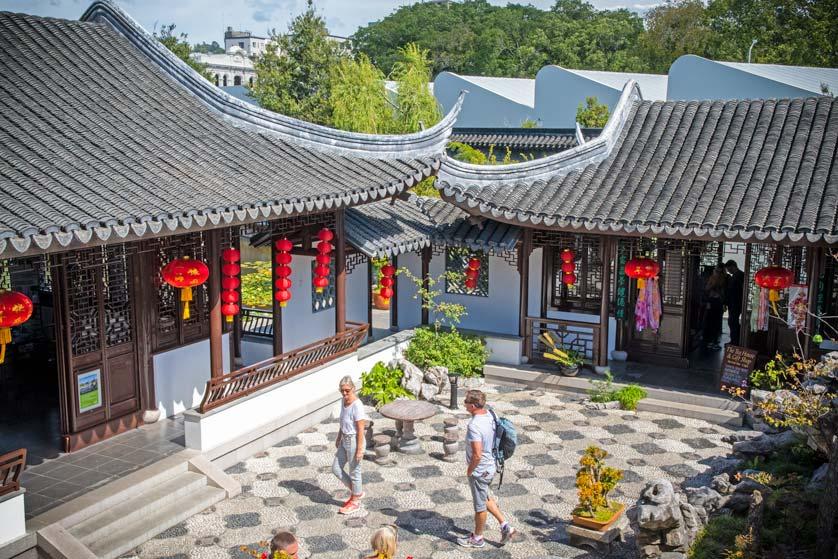 Courtyard at Lan Yuan Dunedin Chinese Garden, Dunedin, New Zealand.