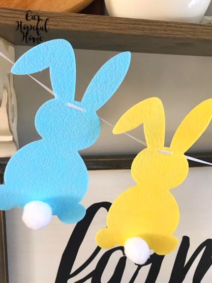 blue felt bunny yellow felt bunny Easter garland