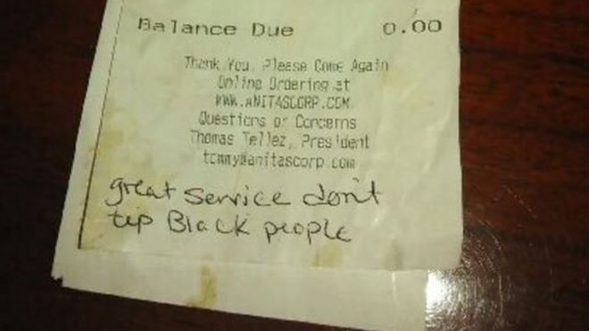 We don't tip black people, note to Virginia waitress said