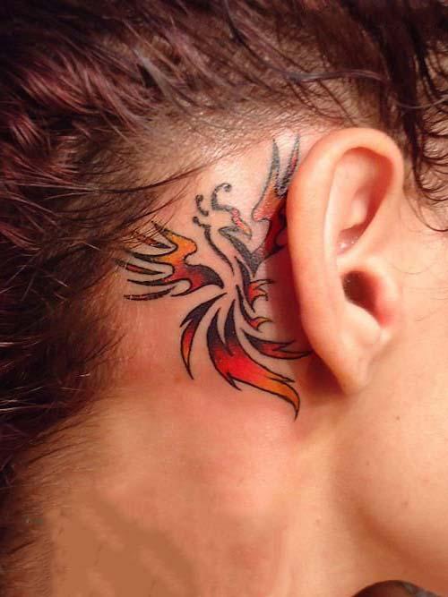 phoenix tattoo ear kulak arkası anka kuşu dövmesi