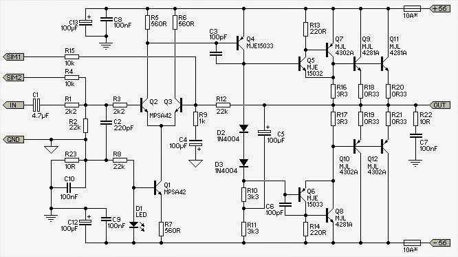 subwoofer amplifier circuit diagram 300w