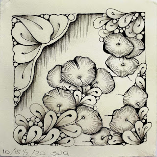 Inktober 2020 day 15 1/2 Intermission tile with flux and lined flowers