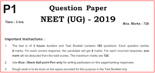 NEET  Previous Question Papers - Last 5 Years NEET Exam Papers 2020,2019, 2018