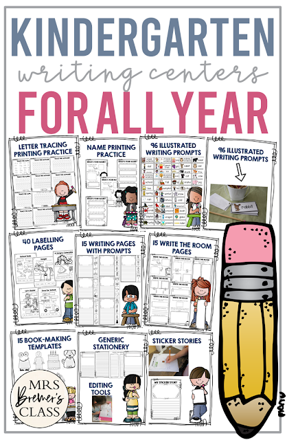 This pack includes everything you'll need for your Kindergarten writing center for the whole school year! Activities include: letter tracing pages, name printing practice pages, illustrated writing prompts, labelling pages, ticker stories, writing pages with story prompts, write the room {open ended}, book-making templates, generic stationery for any occasion, and editing checklists for self & peer editing