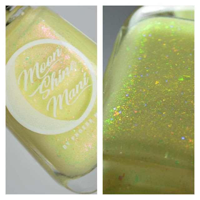yellow nail polish with pink to green shimmer in a bottle