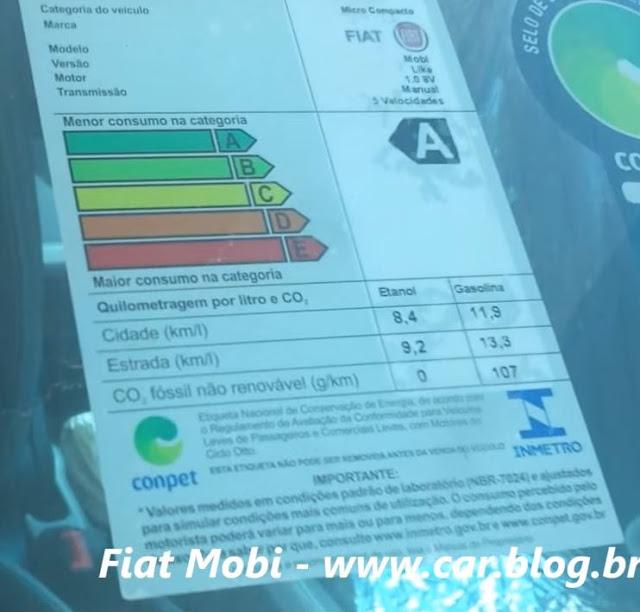 Fiat Mobi - consumo INMETRO