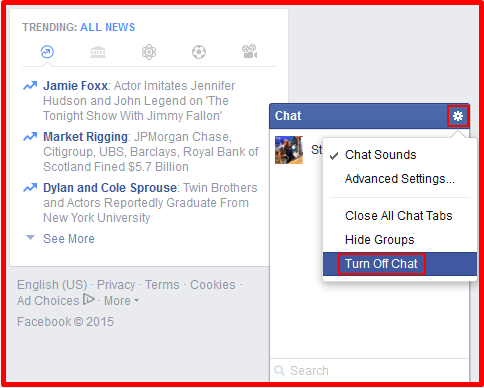 how to turn on chat on facebook