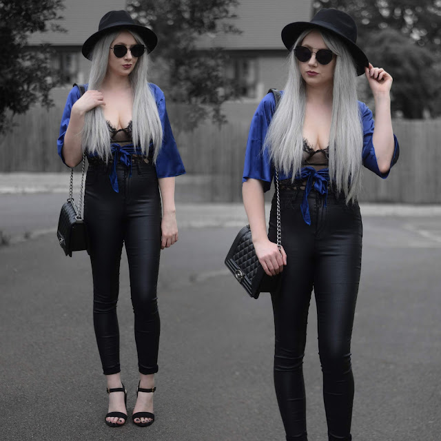 Sammi Jackson - Primark Black Fedora / Zaful Sunglasses / Femmeluxe Finery Silky Tie Blouse / Femmeluxe Finery Lace Bodysuit / Topshop Satin Jeans / Vestiere Collective Boy Chanel Bag / Primark Sandals