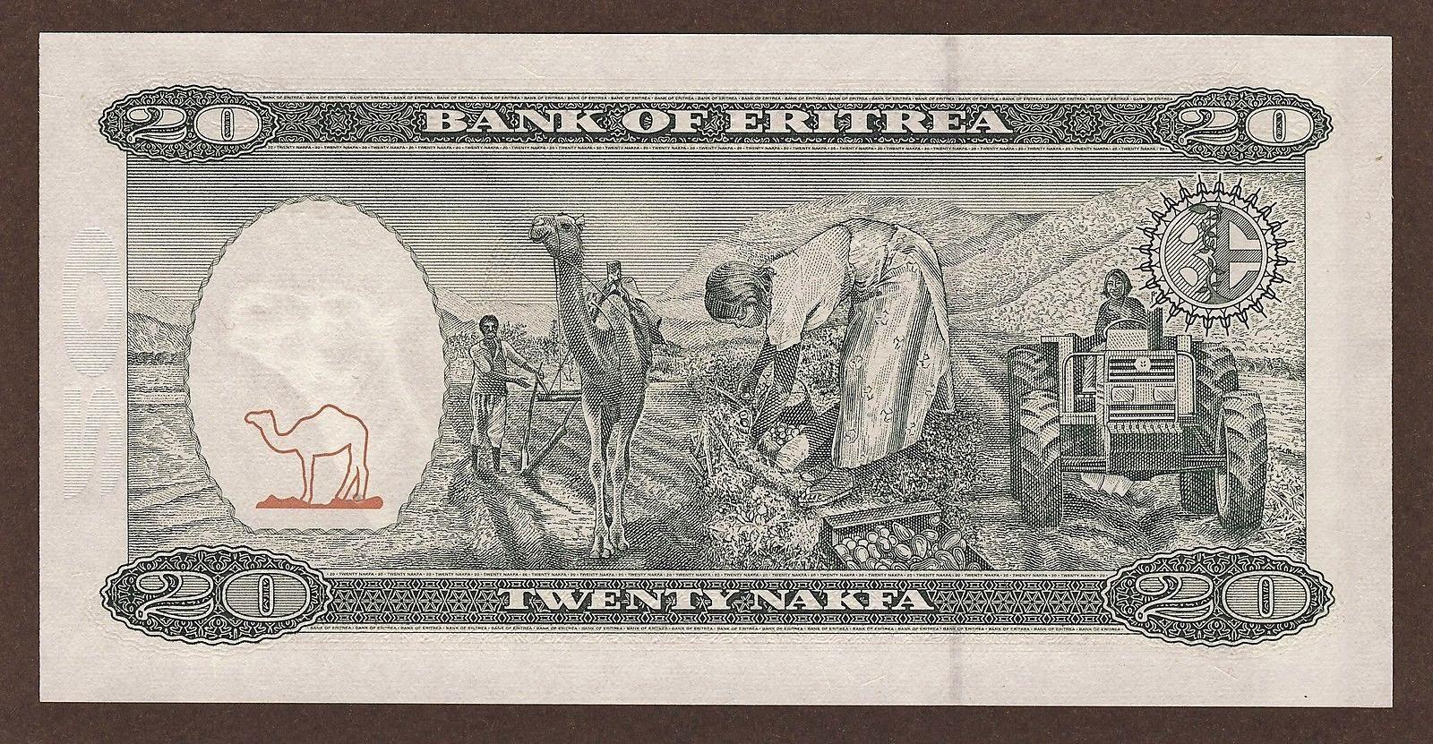 Currency of Eritrea 20 Nakfa Note