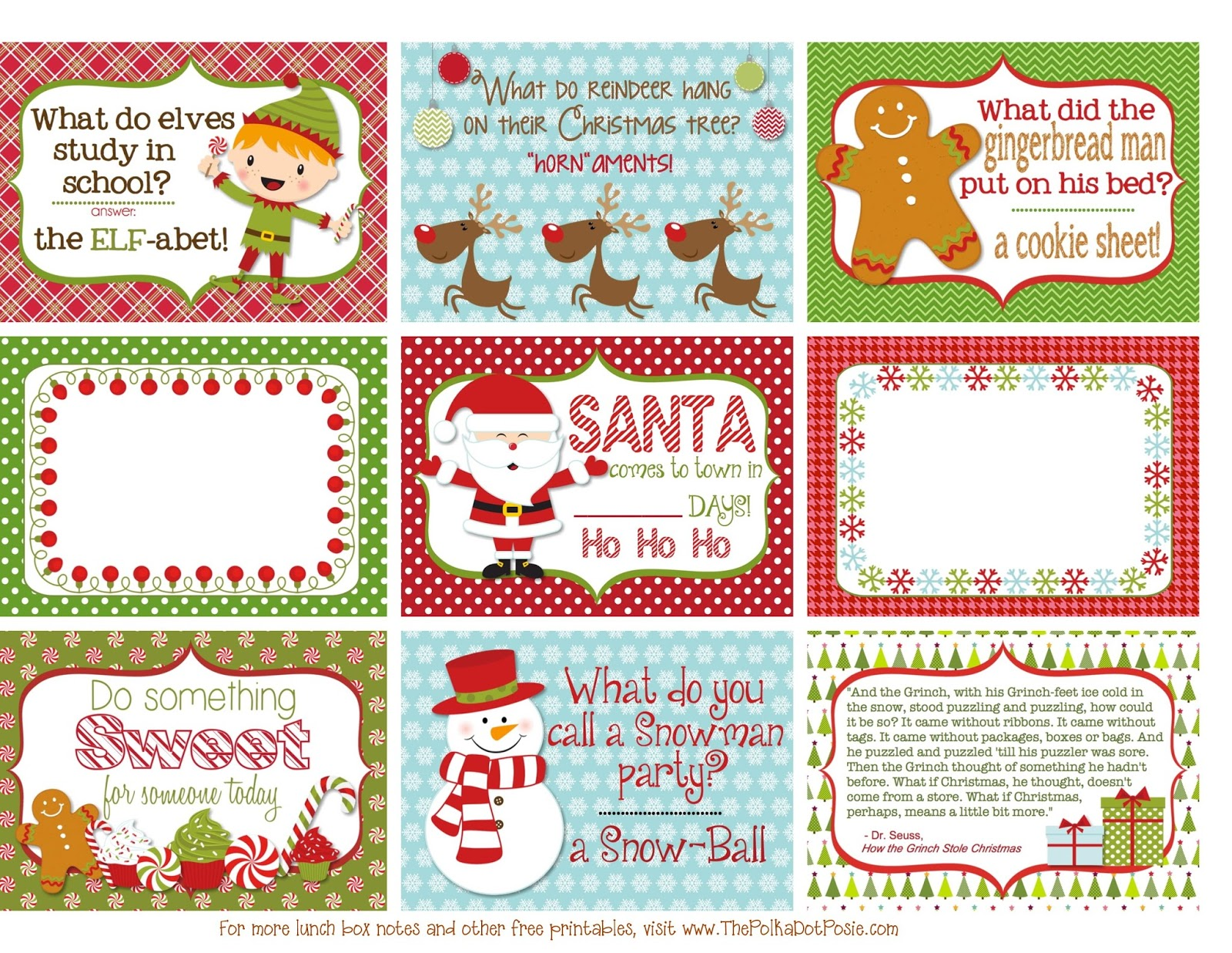 The Polka Dot Posie Printable Christmas Lunch Box Notes