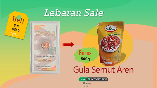 Emas EOA 1 gram Bonus Gula Semut Aren 500 Gram.