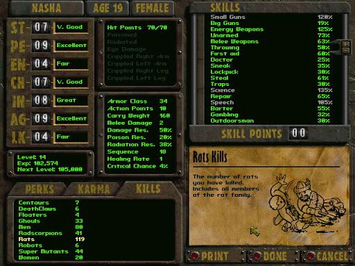 Feuille de personnage dans Fallout