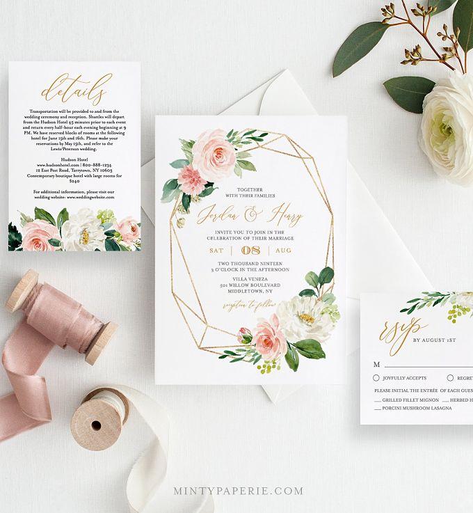 adeefb9ee ▷ 25 invitaciones de boda para imprimir tú misma y ahorrar ...