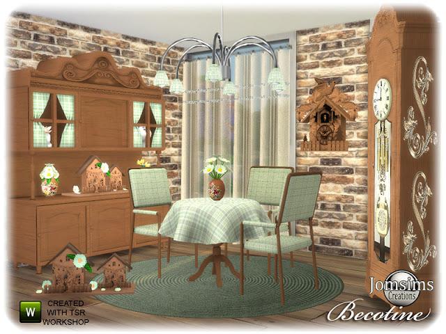 Becotine dining room Бекотин столовая для The Sims 4 2 растения. Обеденный стул. funriture. коврики. декорирование стен часы деко. потолочный светильник, шторы, декорирование цветов для мебели. Автор: jomsims