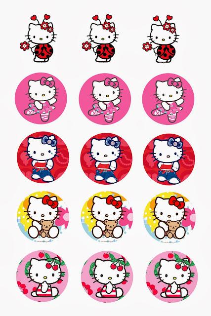 Hello Kitty: Toppers para Cupcakes o Etiquetas Redondas para Imprimir Gratis.