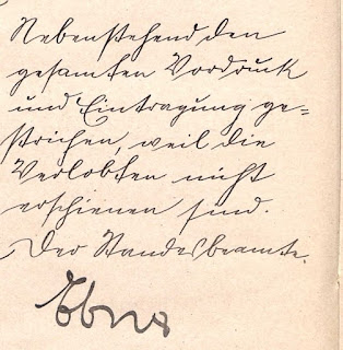 "Marginal note on the 1919 cancelled marriage registration  of Walter Georg Heinrich Gross and Elsa (Katz) Majewski.  German handwriting at its finest:  ""Nebenstehend den gesamten Vordruck und Eintragung  gestrichen, weil die Verlobten nicht erschienen sind.  Der Standesbeamte (signature)""  (Thanks to Traugott Vitz for his transcription/translation skills!)"