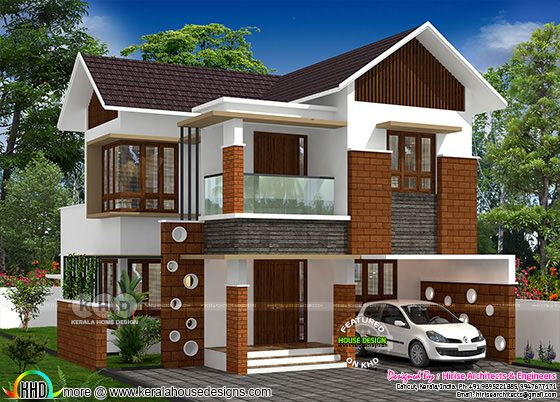 Beautiful mixed roof 3 BHK house rendering