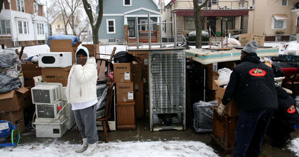 Black family being evicted