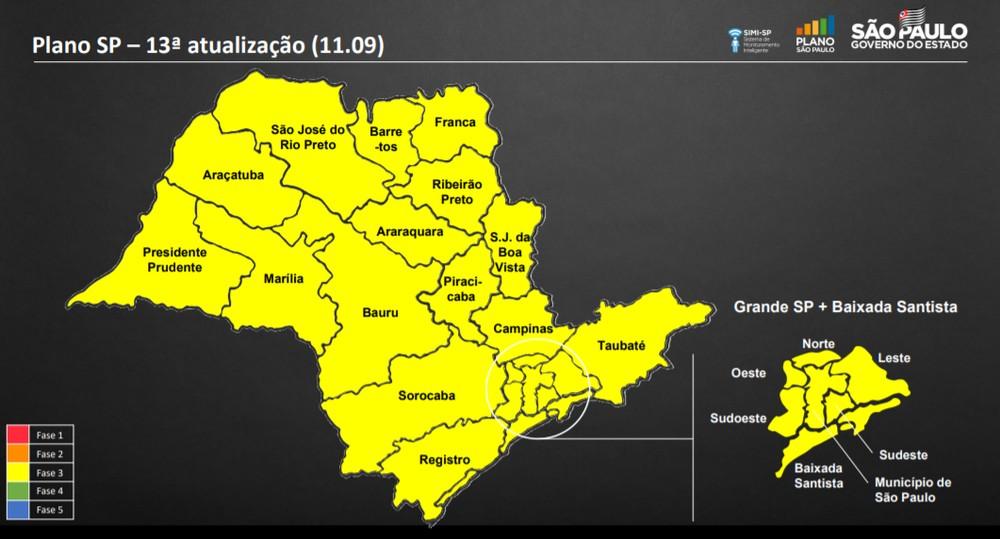 Governo de SP coloca todo estado na fase amarela
