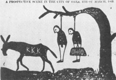 The Fate of the carpetbagger and scalawag: A cartoon that the KKK would lynch carpetbaggers.
