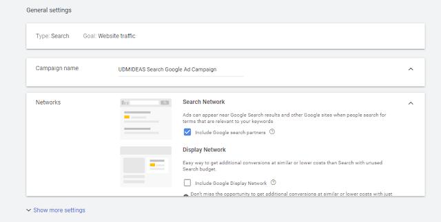 UDMIDEAS Google Ad Search Campaign USA