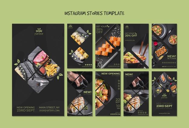 Instagram stories template for japanese restaurant Free Psd