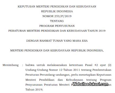 Kepmendikbud 253/P/2019 Tentang Program Penyusunan Permendikbud