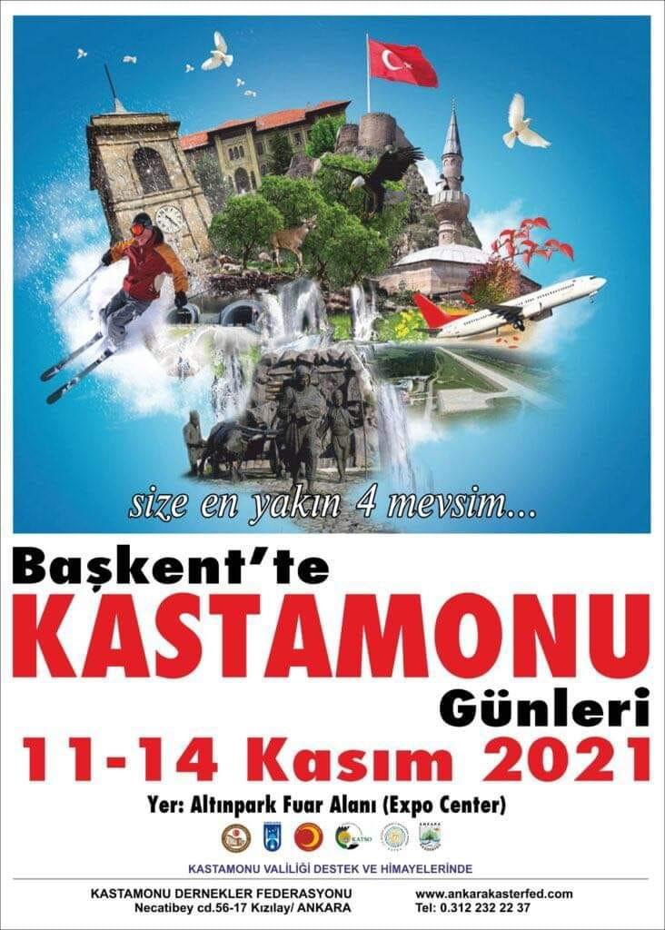 16. Başkent'te Kastamonu Günleri 11-14 Kasım 2021 Altınpark Fuar Alanında Yapılacak