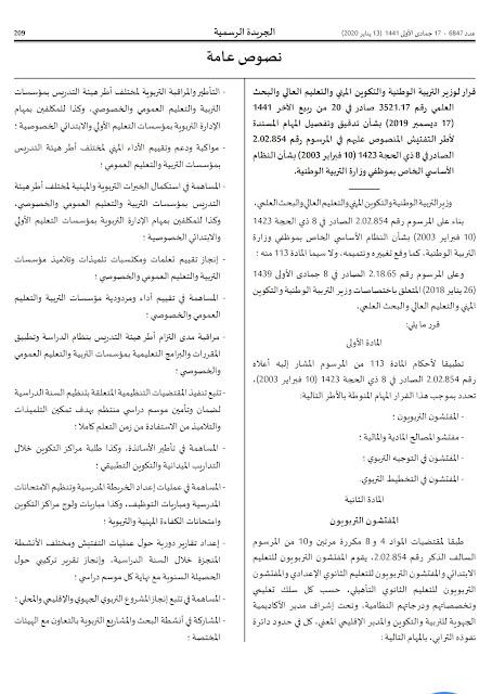 قرار لوزير التربية الوطنية بشأن تحديد مهام اطر التفتيش بالجريدة الرسمية 13  يناير  2020