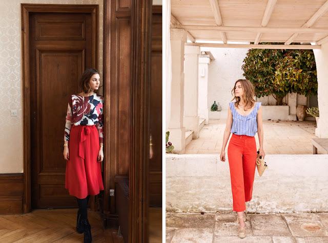 Красная юбка и брюки привлекают внимание к ногам