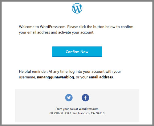 Email konfirmasi Wordpress