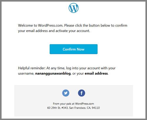 Email konfirmasi Wordpress